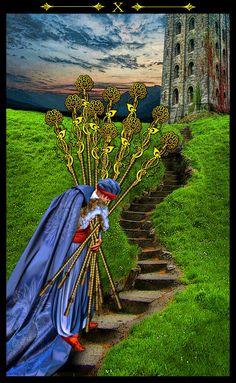 Illuminati tarot deck Ten of wands Illuminati, Fortune Cards, Online Tarot, Tarot Card Meanings, Hero's Journey, Tarot Spreads, Oracle Cards, Tarot Decks, Archetypes