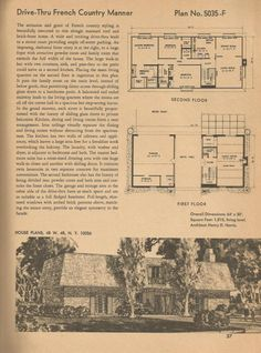Vintage House plans, mid century homes House Plans With Pictures, Vintage House Plans, Vintage Houses, Mcm House, Facade Architecture, School Architecture, Residential Architecture, French Country Style, Large Homes