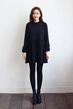 Frill Neck Loose Fit Dress