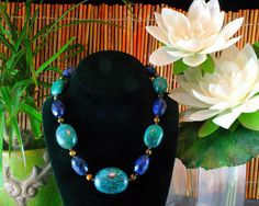 Turquoise Necklace - Ethnic Jewelry - Chunky Beaded Necklace - Turquoise and Sodalite. $135.00, via Etsy.
