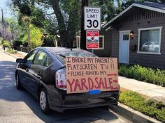 """""""I broke my parents' flat screen TV!!  Please come to my Yard Sale."""" #FUNNY YARD SALE SIGN-OF-THE-WEEK: OOPS... #OKC #YARDSALES #OKLAHOMA Read more » http://okc-craigslist.blogspot.com/2016/02/yard-sale-sign-of-week-oops.html"""