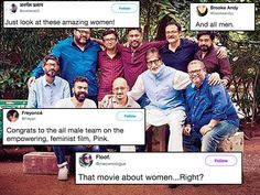 The stalwart was oblivious to the lack of female representation as he tweeted a picture meant to extol a film about women empowerment.