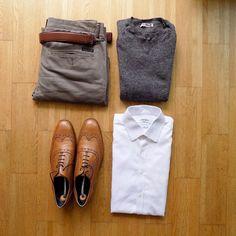 Nice essentials via thenortherngent - brown brogues, white shirt, grey sweater, stone chinos