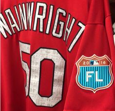 Adam Wainwright's 2016 spring training jersey hanging in the clubhouse at their stadium in Jupiter, Florida.