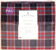 New Coastal Collection Breezy Plaid Full 4 pc Sheet Set Red, Navy Blue & White #CoastalCollection #BreezyPlaid