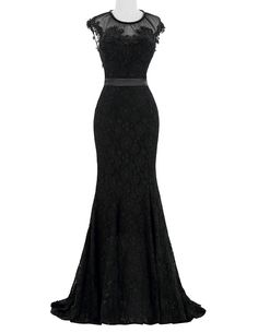 Black Lace Mermaid Sheer Long Evening Dresses Gowns UK11751