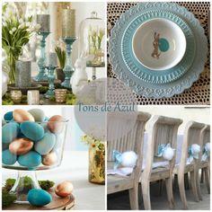 Easter, deco, table, mesa, decoração, Páscoa, coelho, bunny, party, vida de pimenta, azul, blue