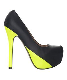 Take a look at this Black & Neon Yellow Carrie Pump by Fiebiger Shoes on #zulily today!