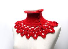Red Wool and Lurex Crochet Neckwarmer / Collar with by ixela
