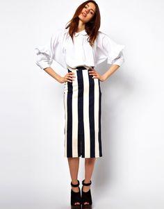 Vertical Stripe Skirt in Column SHape 4315 bij Asoscom