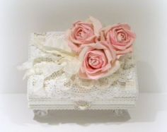 Shabby Chic Decor, White Jewelry Box, Trinket Box, Cottage Chic Decor, Decorated Box, Shabby Chic Box, Boxes