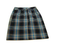 new JONES WEAR womens Designer Teal Black Khaki Plaid Skirt Size 4