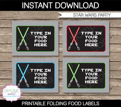 Star Wars Party Food Labels | Food Buffet Tags | Place Cards | Birthday Party | Editable DIY Template | $3.00 INSTANT DOWNLOAD via SIMONEmadeit.com