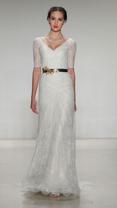 'Jorgette', a beautiful lace wedding dress by Kelly Faetanini, with half length sleeves