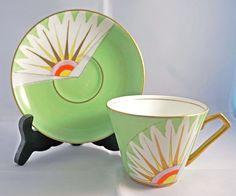 Vintage Art Deco Gladstone China G.P. & Co. Tea Cup & Saucer C.1924-1940 Coffee Cups And Saucers, Tea Cup Saucer, Vintage Cups, Vintage Tea, Art Nouveau, Art Deco, Gladstone, Chocolate Pots, Tea Sets