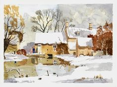 Windrush Mill in Snow - Watercolour 10 x 14 Watercolour From an original by James Fletcher-Watson