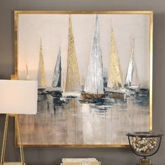 Soft cream hues accented by gold and silver metallics create a soothing scene of racing regatta boats in the Uttermost Regatta Nautical Wall Art . Hand Painted Canvas, Canvas Wall Art, Gold Wall Art, Canvas Frame, Painting Frames, Abstract Paintings, Modern Paintings, Painting Art, Gold Leaf Art