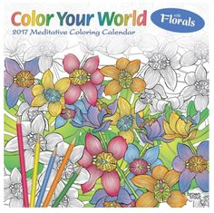2017 Calendar Color Your world Meditative Coloring Book with Floral DIY Art Gift