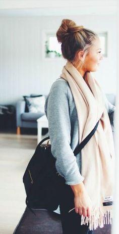 #winter #fashion / gray knit + cream scarf