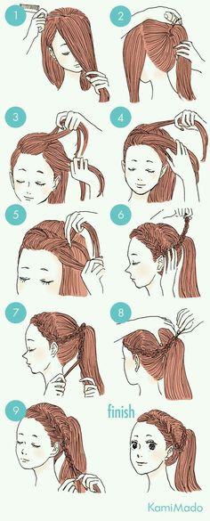 New hair styles cute for school hairdos 37 ideas Hairstyles For School, Ponytail Hairstyles, Cute Hairstyles, School Hairdos, Drawn Hairstyles, Curly Ponytail, Ladies Hairstyles, Bridal Hairstyle, Natural Hairstyles