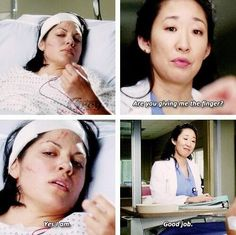 """Are you giving me the finger?"" - Grey's Anatomy - Cristina Yang and Callie Torres - quote - screencap"