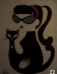 Pin by Alan on Retro Pinups Illustrations, Illustration Art, Pin Up, Black Cat Art, Black Cats, Photo Chat, Mid Century Art, Retro Art, Modern Art