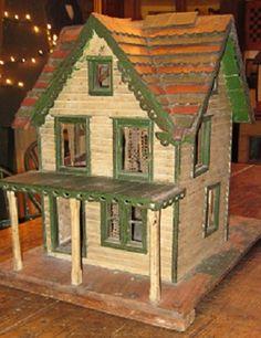 ANTIQUE Folk Art Dollhouse....(handmade)  pin courtesy of http://www.antiquesat30b.com/housesm3.JPG