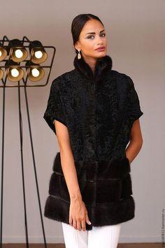 Верхняя одежда ручной работы. Ярмарка Мастеров - ручная работа. Купить жилет из Swakara с норкой. Handmade. Шуба, шубы, пальто