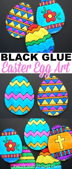 Kids of all ages will love creating this Easter egg black glue art project. Make several for a colorful Easter art project and string them together to make a vibrant Easter banner. Get our Easter egg templates to make prep time for this black glue art project a breeze. #artprojectsforkids #artproject #eastercrafts #eastereggs #iheartcraftythings