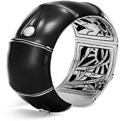 John Hardy Sterling Silver Bamboo Kick Cuff in Black Enamel (98.560 RUB) ❤ liked on Polyvore featuring jewelry, bracelets, john hardy, john hardy jewellery, enamel bangle, sterling silver jewelry and bamboo bangles