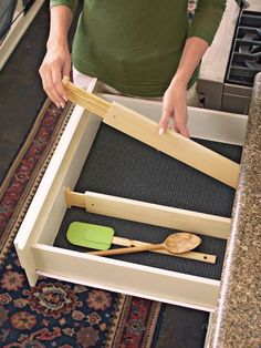 Wooden Drawer Dividers - Set of 2 Spring-Loaded Non-Slip Dividers   Solutions