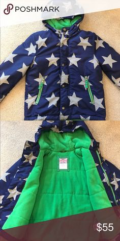 NWOT Mini Boden Size 5-6 Jacket Brand new jacket. My son never wore, because it just doesn't get cold enough here. I love the star pattern and the bright pop of green fleece inside. I bought it for $85 so this is a steal! Mini Boden Jackets & Coats