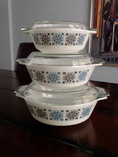 Vintage JAJ English Pyrex Nesting Casserole Set in by PatinaPatina, $50.00