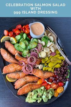 Celebration Salmon Salad with 999 Island Dressing - nocrumbsleft Summer Recipes, Fall Recipes, Clean Eating Recipes, Healthy Eating, Crumb Recipe, Salmon Salad, Home Meals, Seafood Salad, Whole 30 Recipes