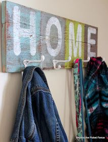 Home sign and coat hook http://bec4-beyondthepicketfence.blogspot.com/2014/02/home-hooks-and-my-thoughts-on-color.html