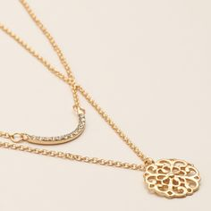 Gold Pave and Medallion Necklaces, 2-Pack | World Market