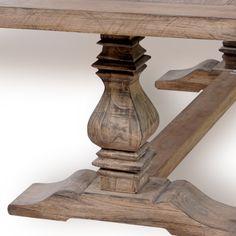 Vintage Salvage American Oak Trestle Table, new color Parisian paint wash