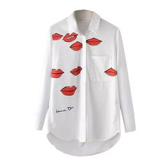 Red Lips Print Lapel Single Breasted Pocket High Low Long Sleeve Shirt (23 CAD) ❤ liked on Polyvore featuring tops, long sleeve tops, red long sleeve top, white top, red white top y shirts & tops