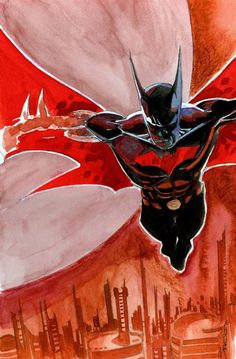Batman Beyond Watercolor, in John Stanisci's John Stanisci Art Comic Art Gallery Room Superman, I Am Batman, Batman Art, Gotham Batman, Batman Robin, Comic Book Characters, Comic Character, Comic Books Art, Comic Art