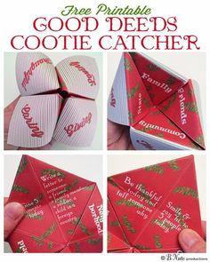 Free Printable Good Deeds Cootie Catcher / Fortune Teller