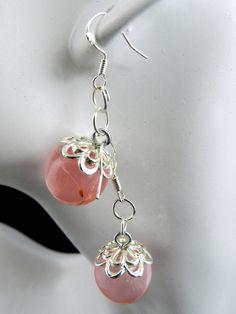 Ohrhänger Pusteblumenkugel rosa,Symbolschmuck,Silberschmuck,925 gestempelt