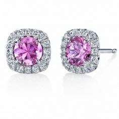 Omi Gems: Pink Sapphire and Diamond Stud Earrings