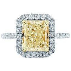 3.62 GIA cert Radiant  Fancy Yellow diamond Gold Halo Engagement Ring