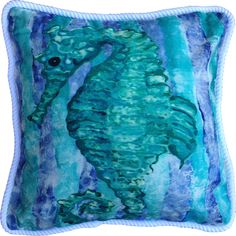 Vibrant tropical inspired images of a brightly colored aqua seahorse on a large, overstuffed 20 x 20 coastal cottage pillow trimmed with white nautical braid.