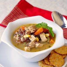 Lemon Chicken and Red Quinoa Soup -  medium onion 3 cloves garlic, chopped 1 cup diced carrots 1 cup diced celery 6 cups chicken stock 2 diced tomatoes 1/2 cup red quinoa 1/2 tsp black pepper 1 tsp dry thyme 1/2 tsp salt (more or less to season to taste) 1/2 cup corn 2 cups diced lemon chicken