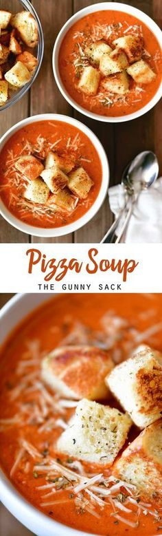 This hearty Pizza Soup is like comfort in a bowl with a creamy tomato base, mini pepperoni and lots of cheese served with homemade garlic and herb croutons. This easy dinner idea is perfect for pizza lovers! #pizza #soup #croutons #dinner #comfortfood