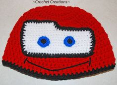Crochet Creative Creations- Free Patterns and Instructions: Crochet Lightning McQueen Child Hat