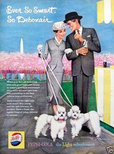 1959 Vintage Ad Pepsi Cola Smart Couple Poodles Washington Memorial Cherry Trees | eBay