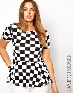 Asos CURVE Exclusive Peplum Top In Check Print