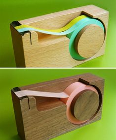 ...simple wooden tape dispensers for washi masking tape...